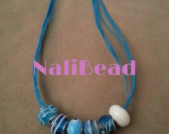 Blue/white European lamp work beaded necklace