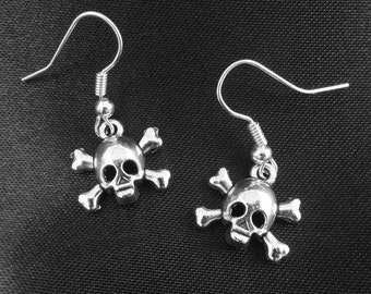 Tibetan Silver Skull Charm Drop Earrings