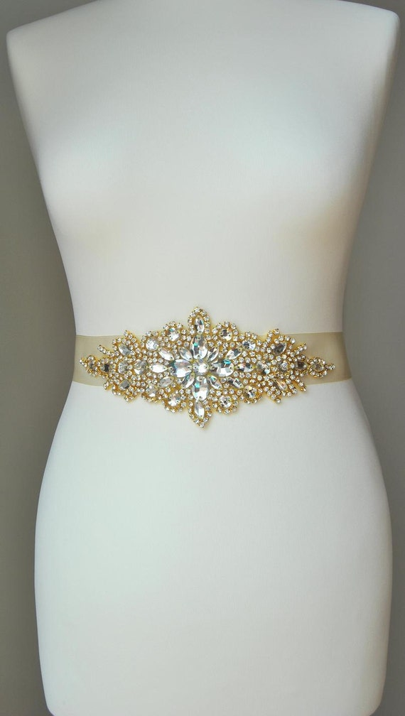 Luxury Gold Crystal Bridal Sashwedding Dress Sash Belt