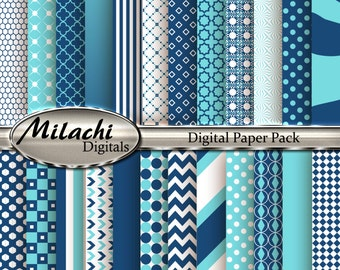 Aquamarine and Midnight Blue Digital Paper Pack, Scrapbook Papers, Commercial Use - Instant Download - M122