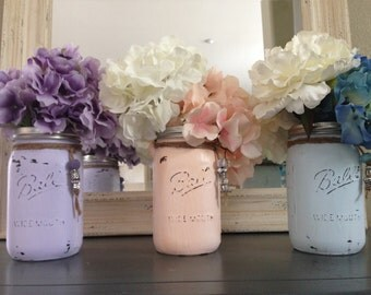 Distressed  Mason Jar, wedding mason jars, home decor mason jars, jars with beads, country  chic jars, wedding mason jars, wedding decor
