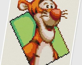 PDF Cross Stitch pattern - 0257.Tigger ( Winnie the Pooh ) - INSTANT DOWNLOAD