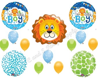 LION BABY BOY Jungle Safari Balloons Decorations Supplies Baby Shower