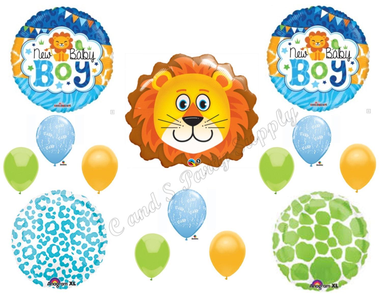 Lion Baby Boy Jungle Safari Balloons Decorations Supplies Baby