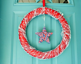 July 4th Holiday wreath USA star Independence day 4th july decorations wreaths Ribbon wreath Fourth of July Patriotic door wreath home decor