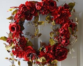 Hydrangea Wreath Red Roses Peony Chrysanthemum Blooms Burgundy Summer Fall Decor
