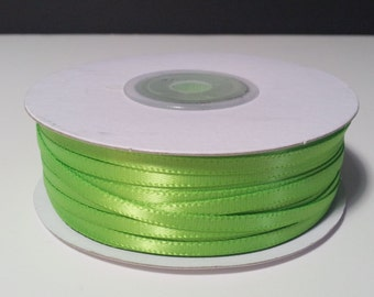 "1/8"" Apple Green Double Face Satin Ribbon - 100 Yards"