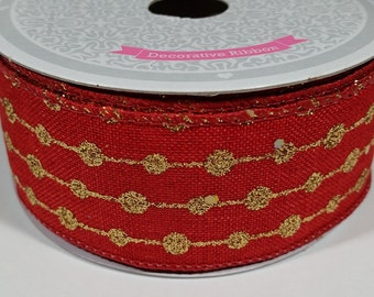 "1 1/2"" Canvas Glitter Dots Ribbon - Red - 10 Yards"