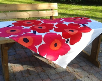 Modern tablecloth made from Marimekko fabric Unikko, Scandinavian design, red long floral rectangle retro tablecloth, mid century modern