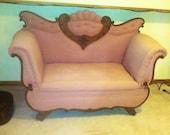 Vintage 1940s Pink Blush Unique Antique Couch