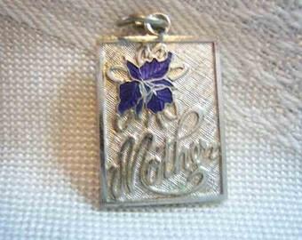 Vintage Sterling Enamel Flower Mothers Charm