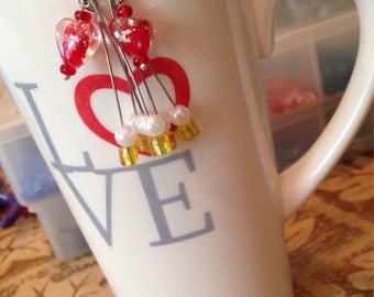 Glass Heart Dangle Earrings