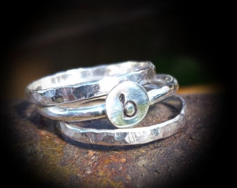 3 Piece Sterling Silver Initial Stacked Ring Set