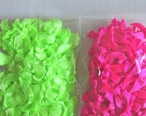 100 Bows -  satin mini bows in hot pink or neon fluo green - small bows - miniature craft bows - hot pink bows - neon green bows