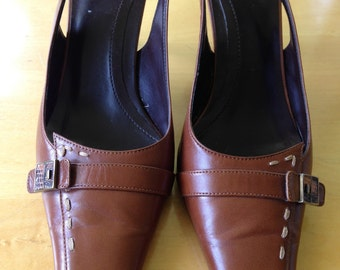 Vintage Brown Leather Heels with Sling Backs/ Wooden Heel and Front Strap and Buckle. By Linea Paolo