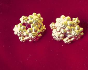 Vintage Monet Floral Gold Matte Overlay Pierced Earrings
