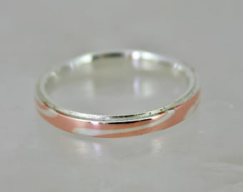 SALE now 60,00 euro (was 73,85) Size 9 ready to ship - Mokume Gane ring Silent Fire – .925 silver and copper