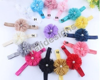 U Pick Wholesales Shabby Flower Headband Baby Headbands. Pearl Headband Vintage Newborns Headbands. Girl's Headband YTH20