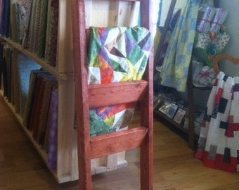 Cherry Stained Wooden Blanket Ladder Quilt Ladder