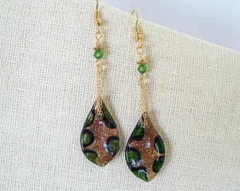 Lampwork Green Black Gold Glass Leaf Earrings