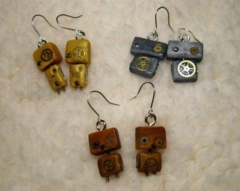 Earrings small robots (with gears true!)