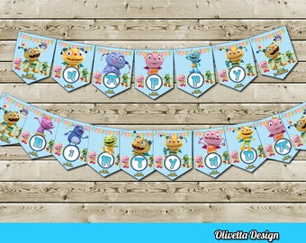 Henry Hugglemonster Happy Bithday Banner - Instand Download - DIY, Digital