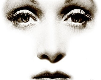 """Visage Collection - Marlene Dietrich - Alone - 24"""" x 24"""" Canvas Art Poster"""