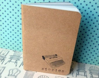 Handmade notebook A6 as moleskine notebook-typewriter typewriter print kraft