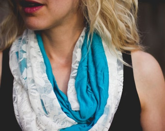 Lace Infinity Scarf -Blue/Teal Fashion Jersey Knit with White Stretch Lace