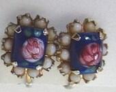 Vintage Vargas milk glass screw back stud earrings