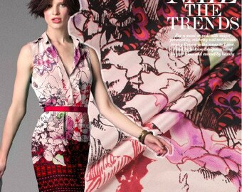 Fashion flower print pink silk crepe de chine fabric for diy dress shirt clothes