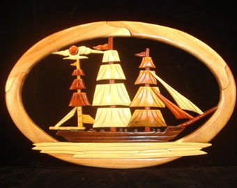 Hand Carved Wood Art Intarsia SAILBOAT Sign Wall Plaque Home Office Decor