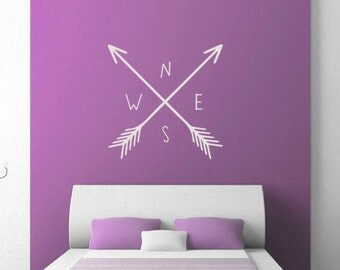 North, South, East and West with Arrows Crossed Vinyl Matte Wall Decal Sticker