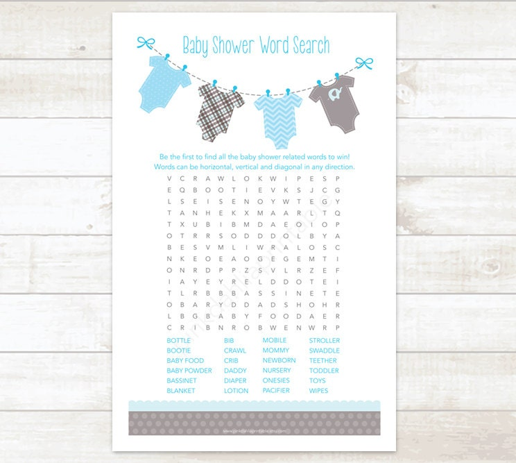 baby shower word search game baby boy shower game baby blue, Baby shower invitation