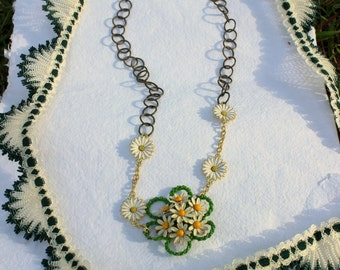 Yellow and White Daisy Necklace