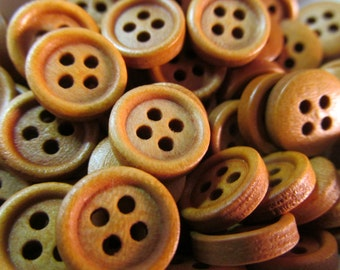 25 Tan Buttons- 12mm- Light Brown- Wood- Sewing- Scrapbooking- Jewelry Making- Crafts
