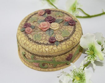 Old Fashioned Roses Trinket Box, Jewelry Box, Earring Box, Ring Box, Gift Under 20, Gift for Her
