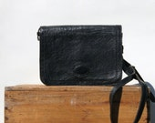 RESERVED | Black Leather Purse, Organizer | Large Vintage Envelope Messenger Bag | Black Cross Body Handbag | Women Crossbody