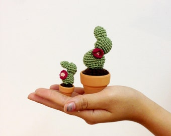 Crocheted Cactus--Flat-Padded Light Green