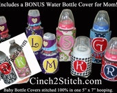 "Monogrammed Baby Bottle Covers with BONUS Mom's Water Bottle Cover - 100% In The Hoop - Machine Embroidery Design Download (5"" x 7"" Hoop)"