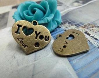 "20pcs 19x21mm Antique Bronze Lovely ""I love You""Heart Charm Pendant c1941-11"
