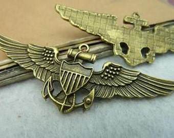 10pcs 24x64mm  Antique Bronze Lovely Anchor with wing Charms Pendant c3089-6