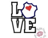 Love Police Badge  Machine Embroidery Applique Design
