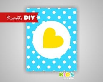 Printable DIY Nursery Art Print, Yellow and Blue Polka dots, Heart, 8x10 JPG file ( cc080 ) ( 006sp810 )