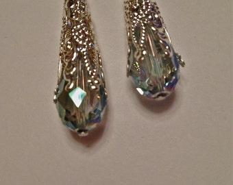 Earrings Silver Wedding Bridesmaid Dangle Swarovski Teardrop Lace Filagree Hypoallergenic Fishhook EarWires