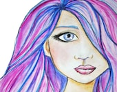 Color Girl Giclee Print 10x10 Mixed Media