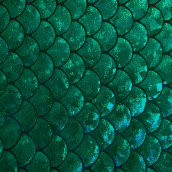 Spandex big fish scale green 58 inches wide fabric by the yard for Fish fabric by the yard