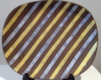 Vintage Ingrid Atterberg for Upsala Ekeby Large Spiral Tray Stripes