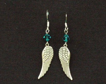 Metal Feather Design and Crystal Earrings