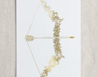 Zodiac - Sagittarius Bow + Arrow Foil Print